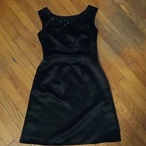 Loft black dress with bedazzled neckline